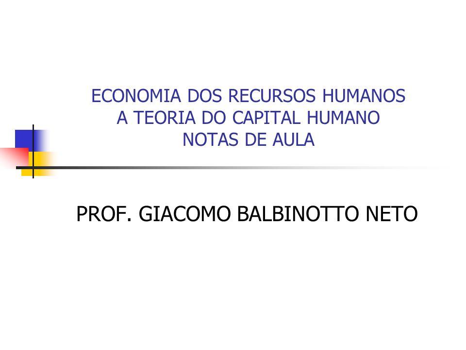 ECONOMIA DOS RECURSOS HUMANOS A TEORIA DO CAPITAL HUMANO NOTAS DE AULA