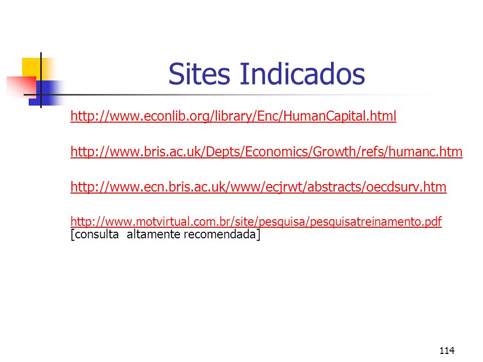 Sites Indicados http://www.econlib.org/library/Enc/HumanCapital.html