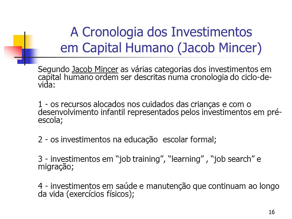 A Cronologia dos Investimentos em Capital Humano (Jacob Mincer)
