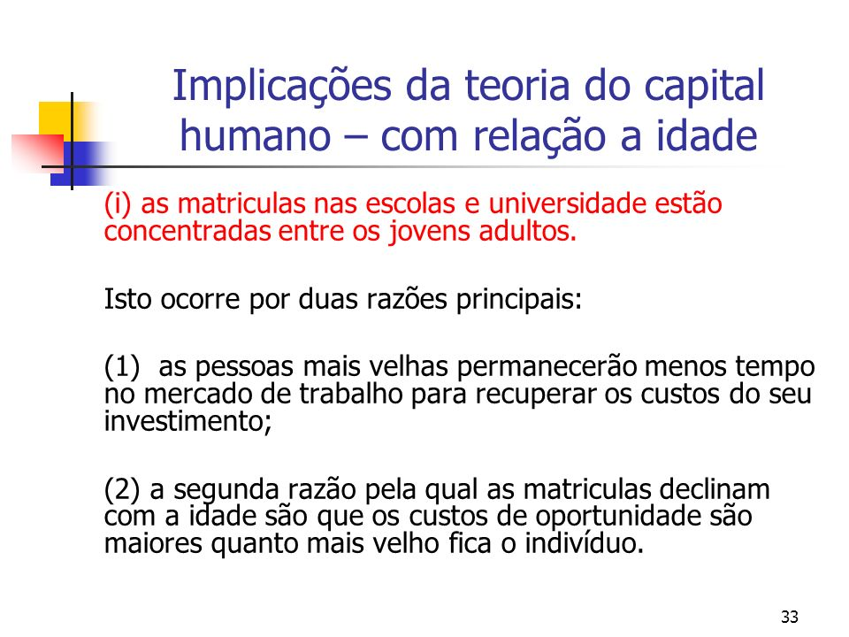 Implicações da teoria do capital humano – com relação a idade