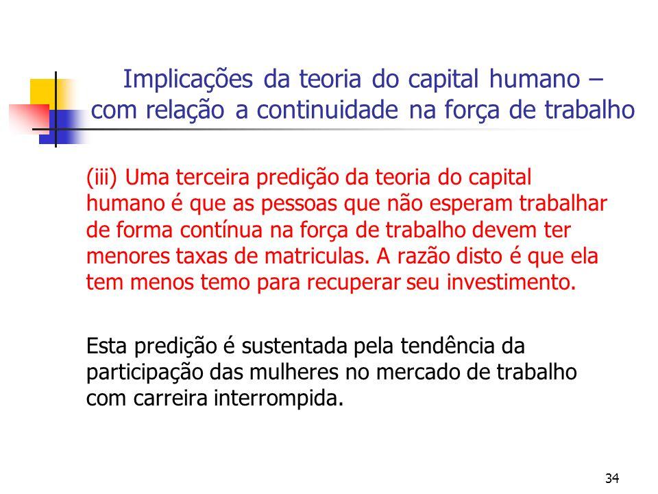 Implicações da teoria do capital humano – com relação a continuidade na força de trabalho