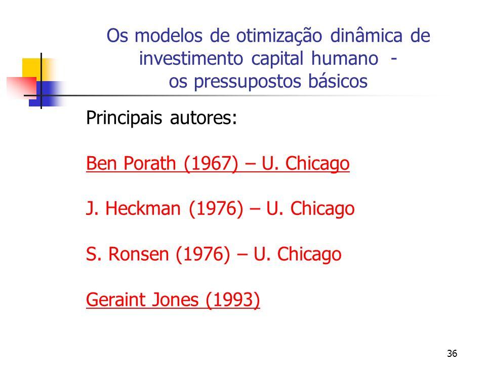 Os modelos de otimização dinâmica de investimento capital humano - os pressupostos básicos