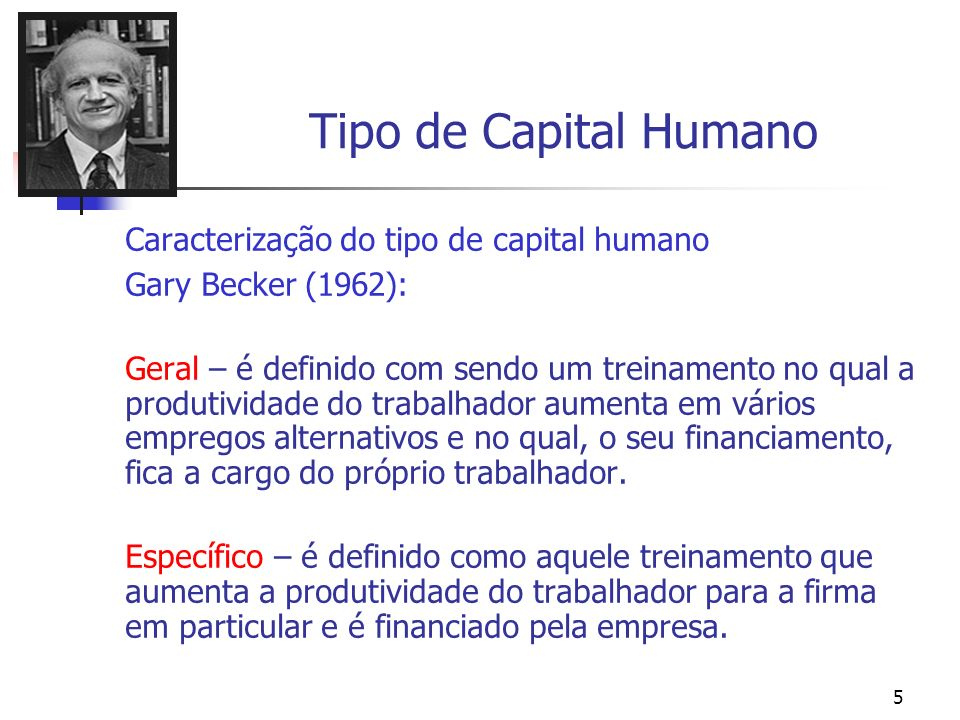 Tipo de Capital Humano Caracterização do tipo de capital humano