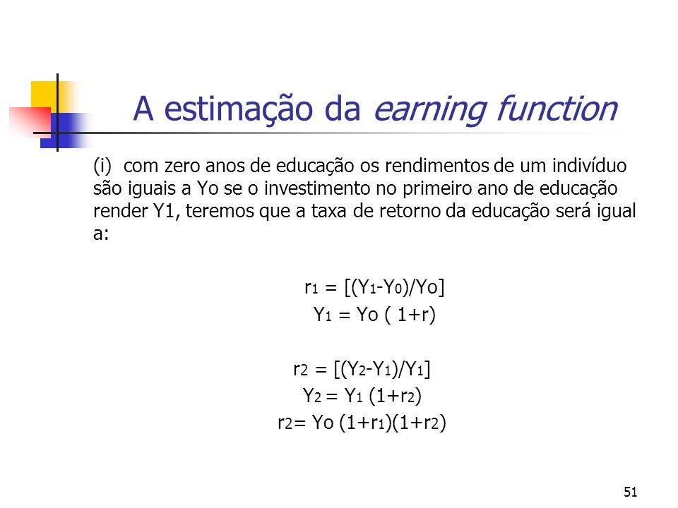 A estimação da earning function