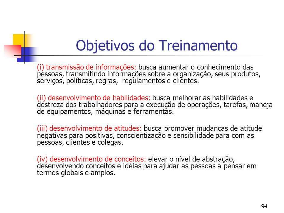 Objetivos do Treinamento