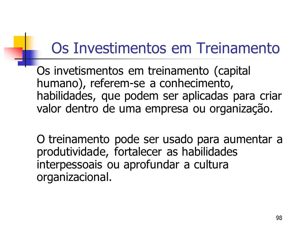Os Investimentos em Treinamento