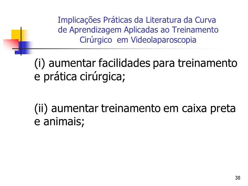 (i) aumentar facilidades para treinamento e prática cirúrgica;