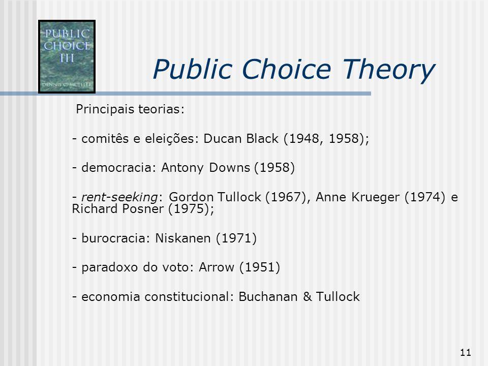 Public Choice Theory Principais teorias: