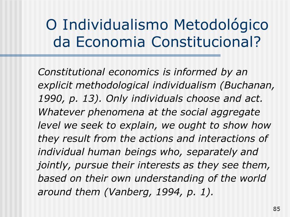 O Individualismo Metodológico da Economia Constitucional