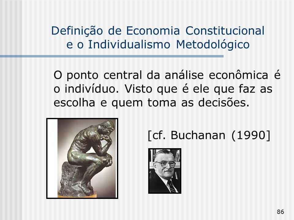 Definição de Economia Constitucional e o Individualismo Metodológico
