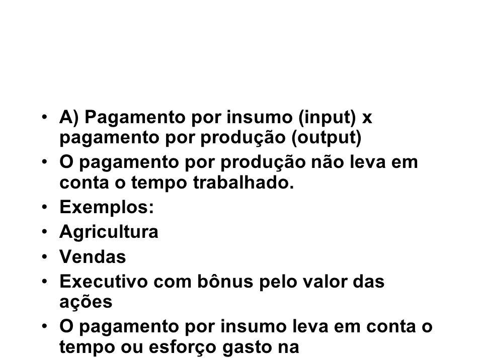 A) Pagamento por insumo (input) x pagamento por produção (output)
