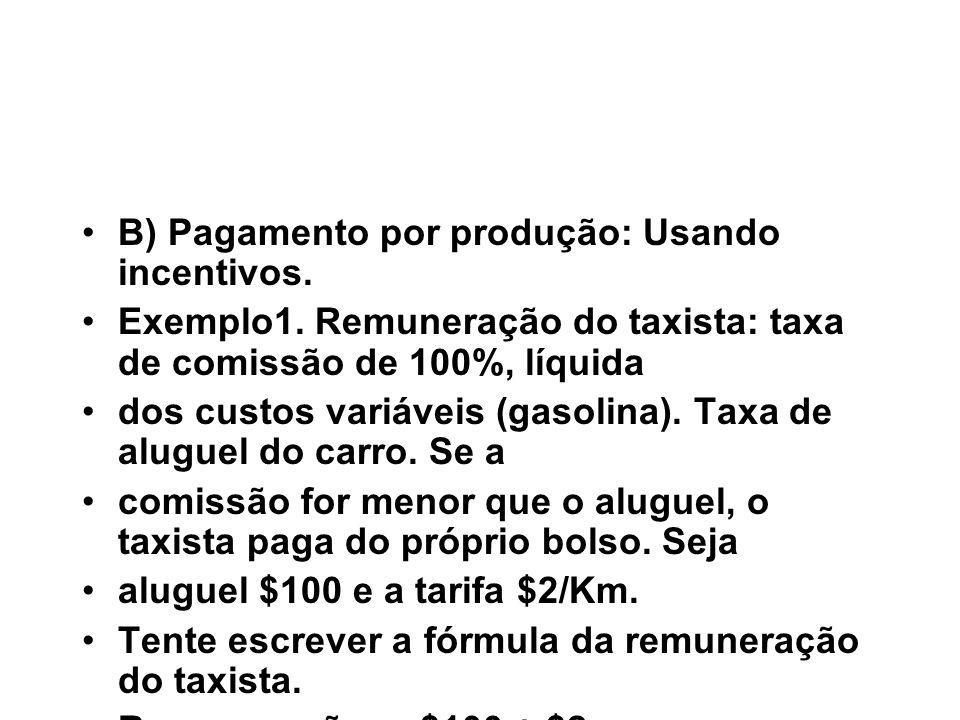 B) Pagamento por produção: Usando incentivos.