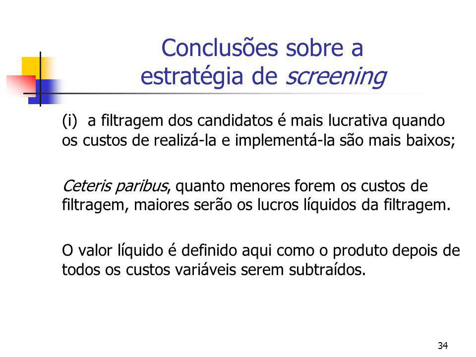 Conclusões sobre a estratégia de screening