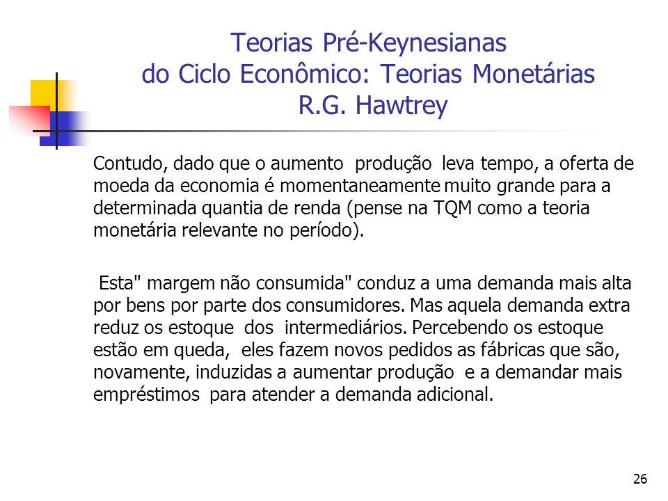 Teorias Pré-Keynesianas do Ciclo Econômico: Teorias Monetárias R. G