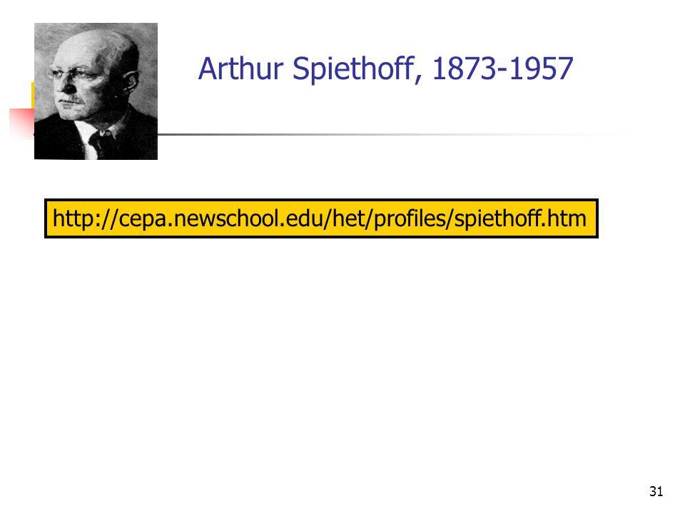 Arthur Spiethoff, 1873-1957 http://cepa.newschool.edu/het/profiles/spiethoff.htm