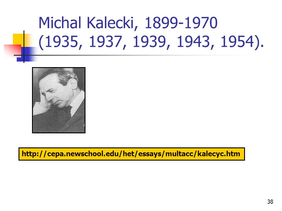 Michal Kalecki, 1899-1970 (1935, 1937, 1939, 1943, 1954).