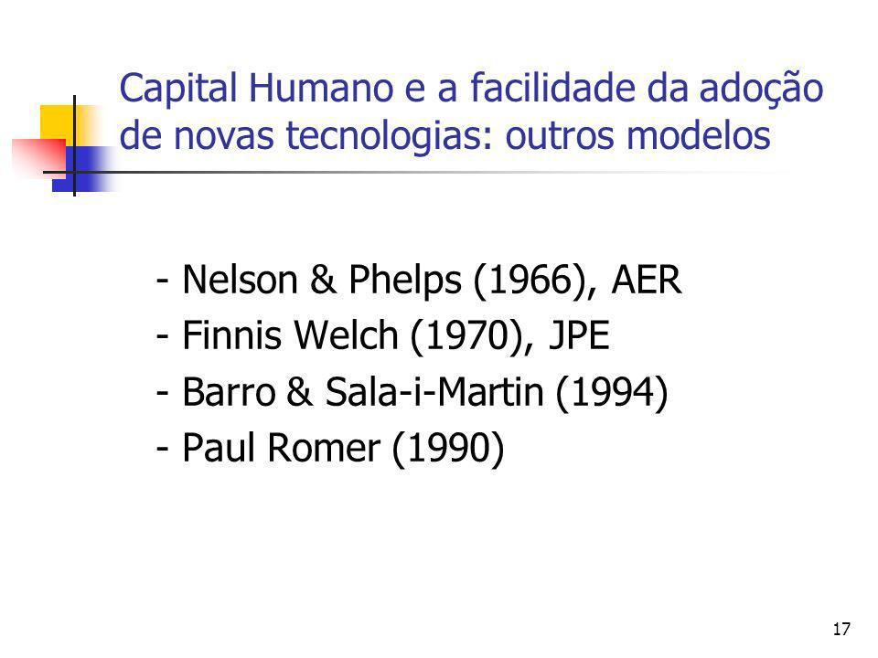 Capital Humano e a facilidade da adoção de novas tecnologias: outros modelos