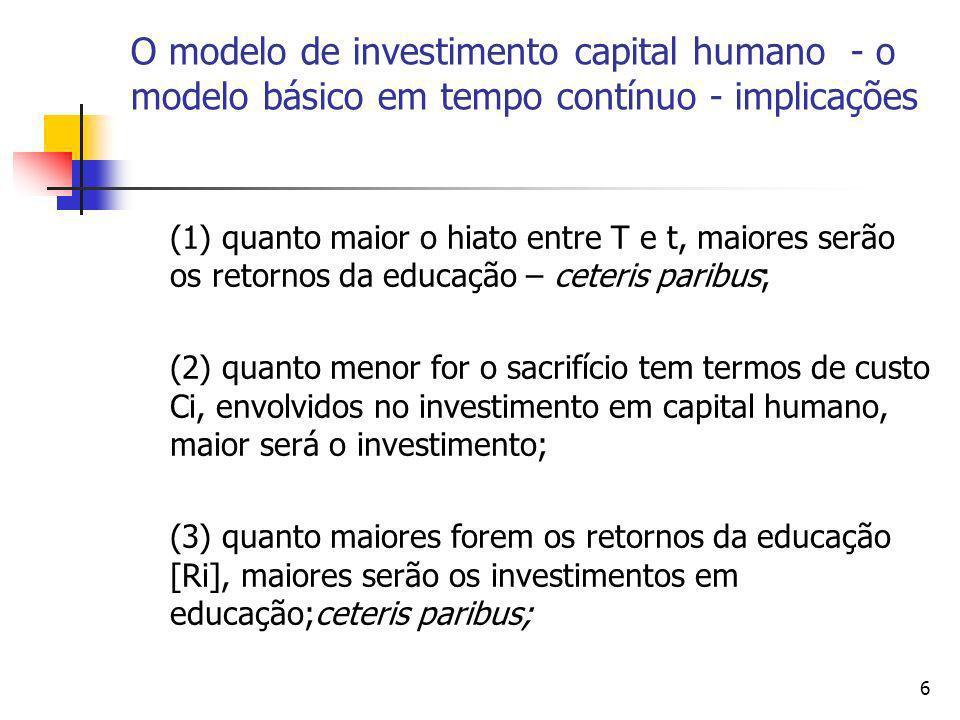 O modelo de investimento capital humano - o modelo básico em tempo contínuo - implicações