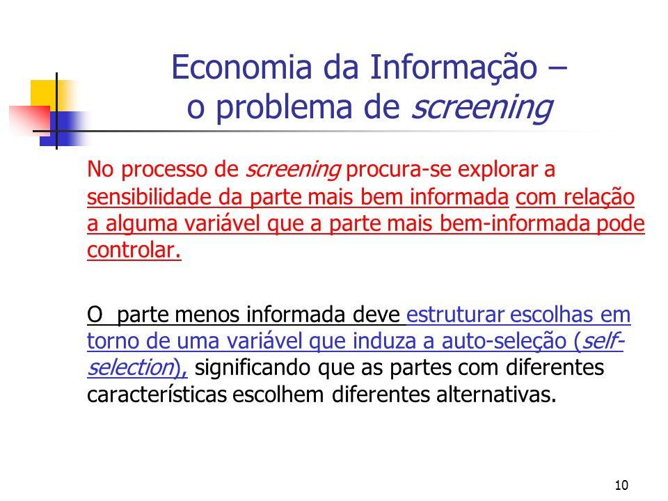 Economia da Informação – o problema de screening