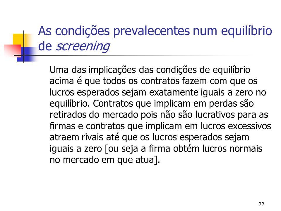 As condições prevalecentes num equilíbrio de screening