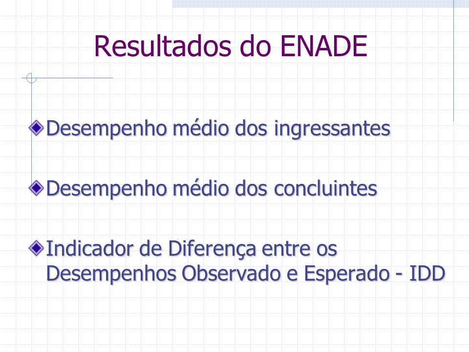 Resultados do ENADE Desempenho médio dos ingressantes