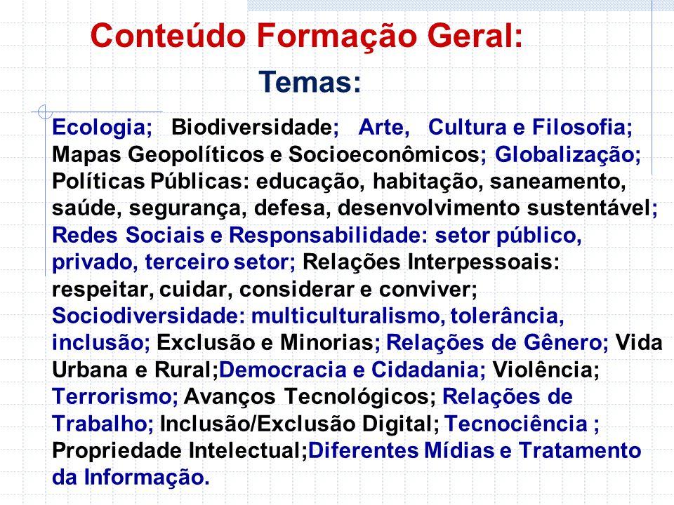 Conteúdo Formação Geral:
