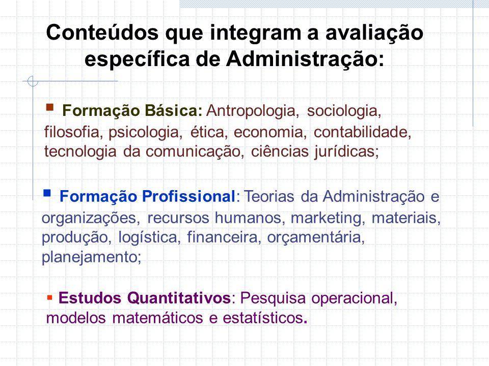 Conteúdos que integram a avaliação específica de Administração: