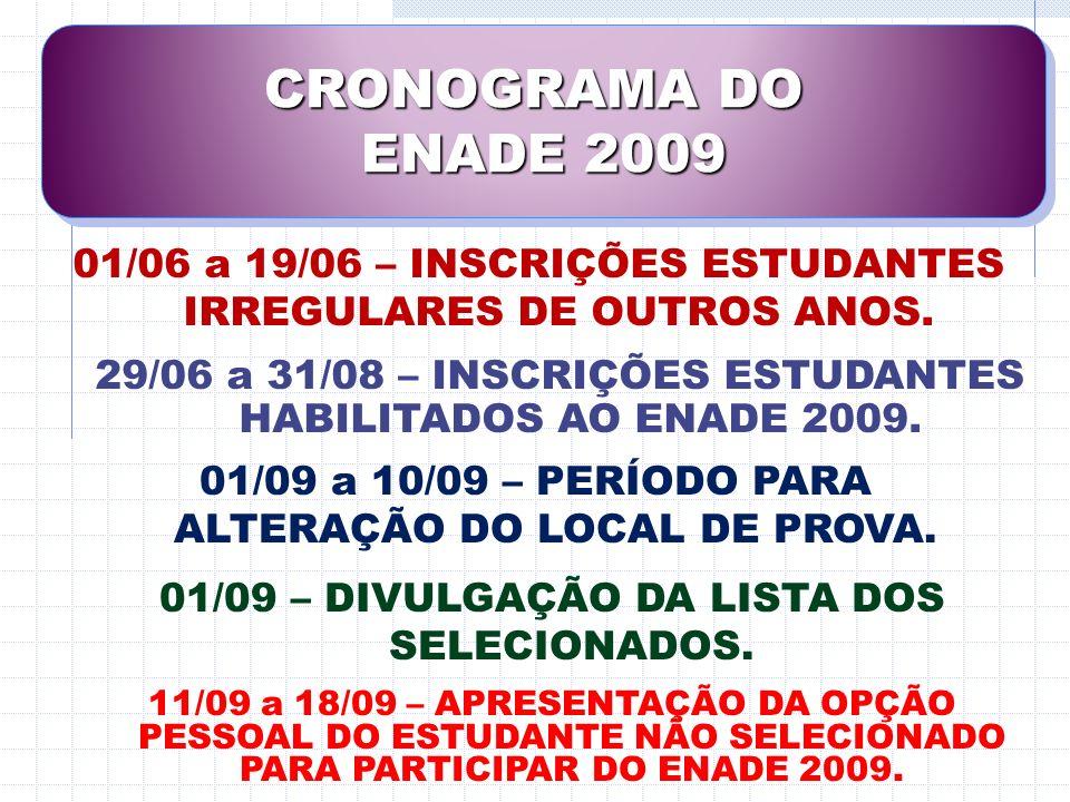 CRONOGRAMA DO ENADE 2009. 01/06 a 19/06 – INSCRIÇÕES ESTUDANTES IRREGULARES DE OUTROS ANOS.
