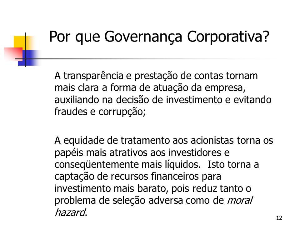 Por que Governança Corporativa