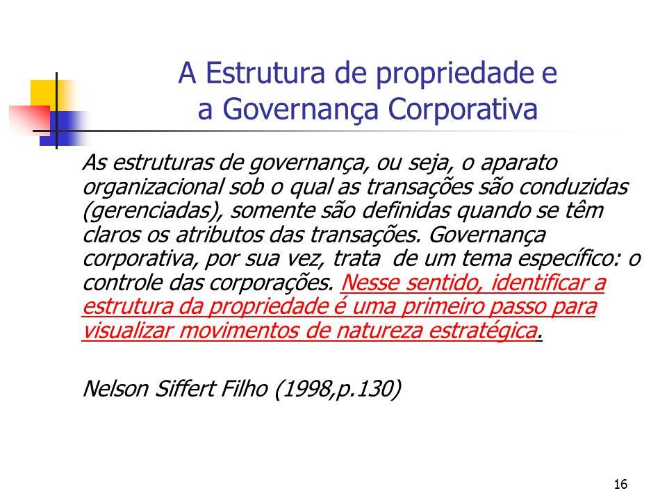 A Estrutura de propriedade e a Governança Corporativa