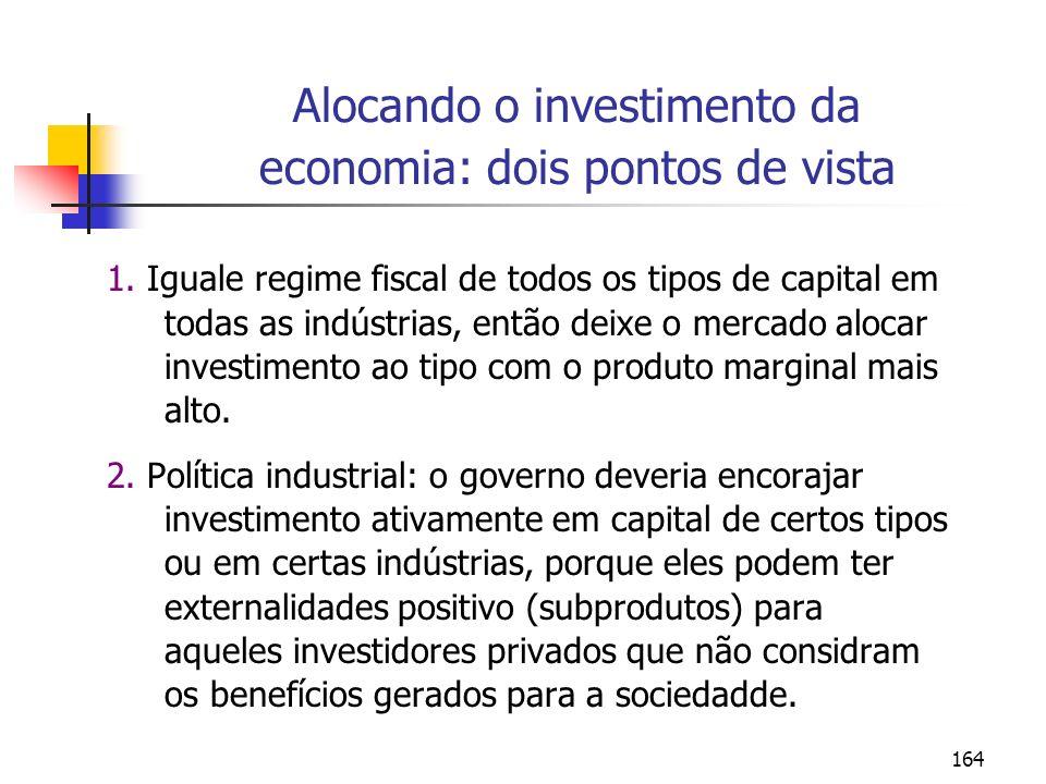 Alocando o investimento da economia: dois pontos de vista