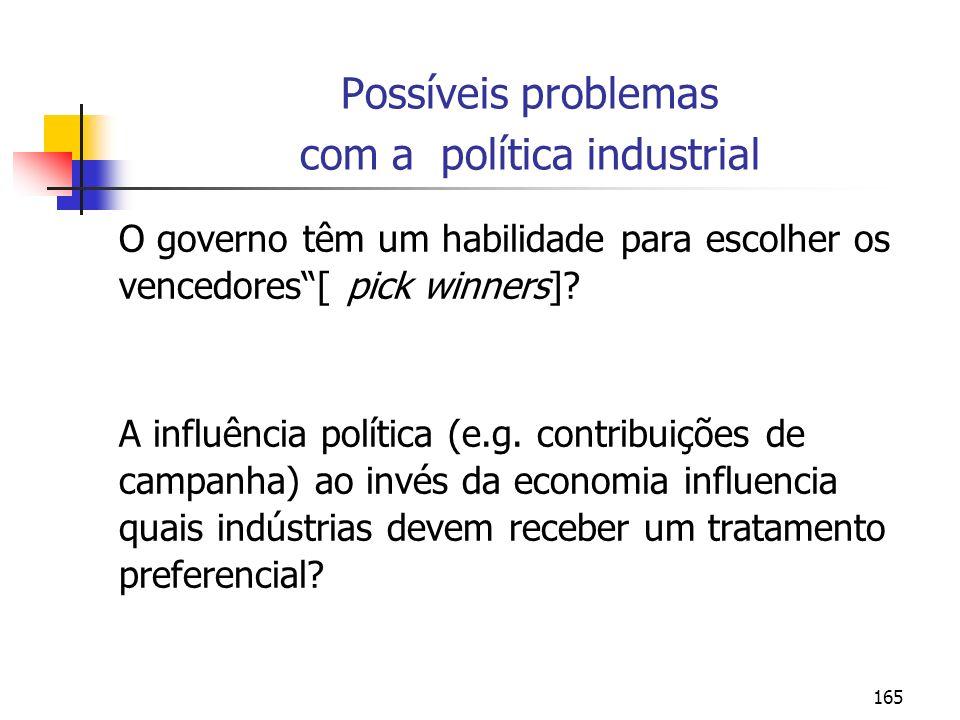 Possíveis problemas com a política industrial