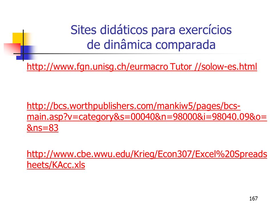 Sites didáticos para exercícios de dinâmica comparada