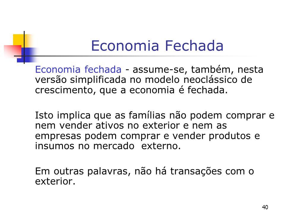 Economia FechadaEconomia fechada - assume-se, também, nesta versão simplificada no modelo neoclássico de crescimento, que a economia é fechada.