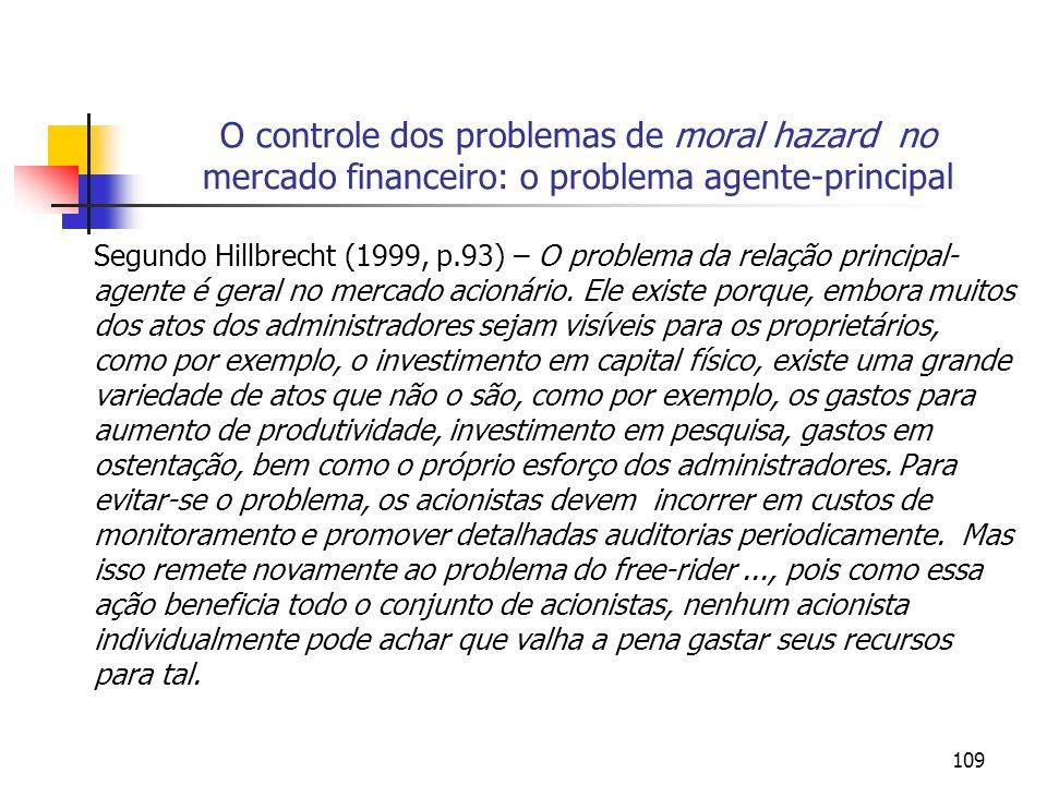 O controle dos problemas de moral hazard no mercado financeiro: o problema agente-principal