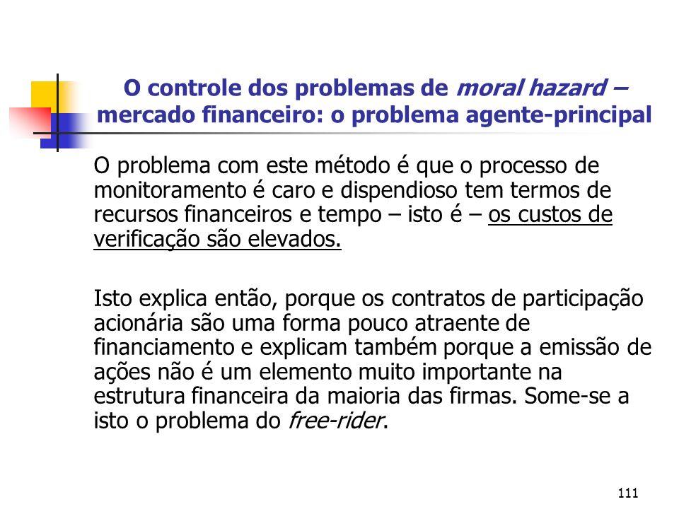 O controle dos problemas de moral hazard – mercado financeiro: o problema agente-principal
