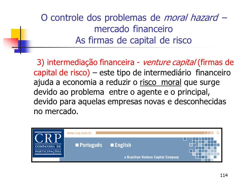 O controle dos problemas de moral hazard – mercado financeiro As firmas de capital de risco