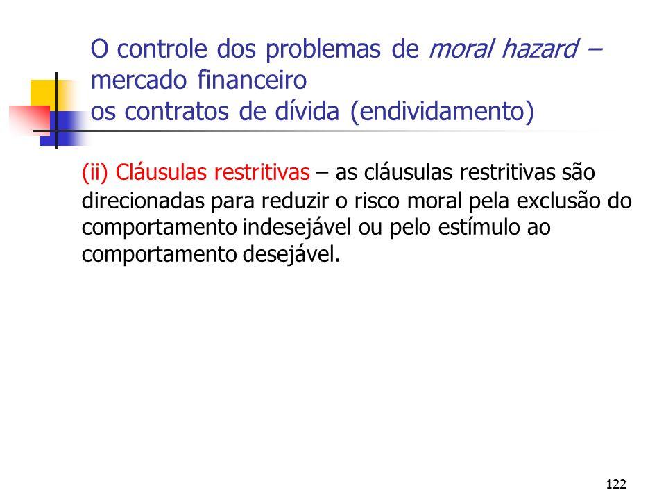 O controle dos problemas de moral hazard – mercado financeiro os contratos de dívida (endividamento)