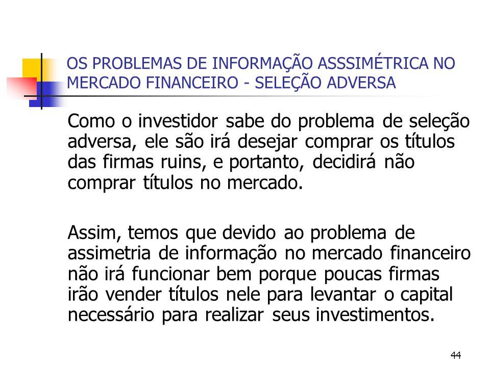 OS PROBLEMAS DE INFORMAÇÃO ASSSIMÉTRICA NO MERCADO FINANCEIRO - SELEÇÃO ADVERSA