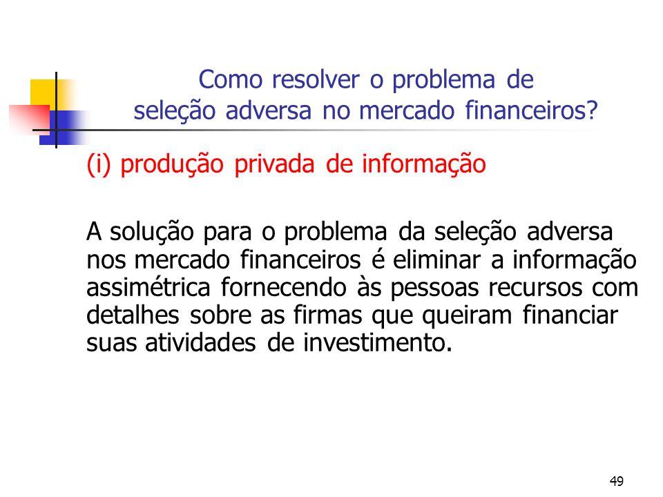 Como resolver o problema de seleção adversa no mercado financeiros