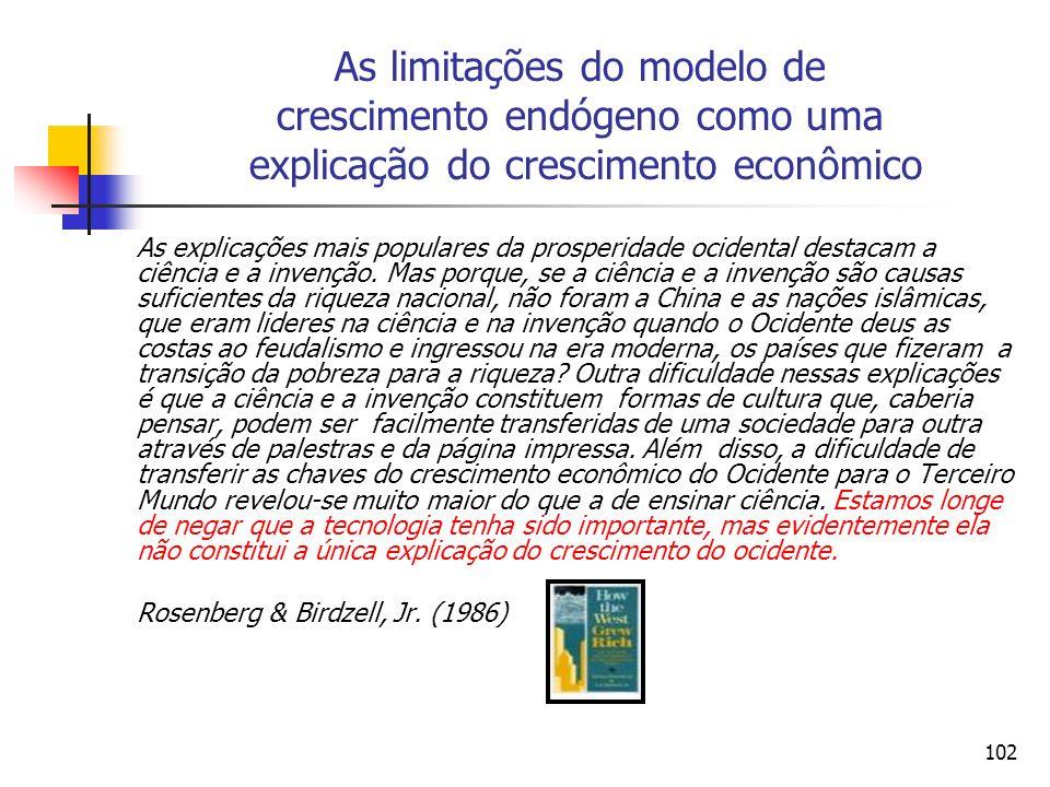 As limitações do modelo de crescimento endógeno como uma explicação do crescimento econômico