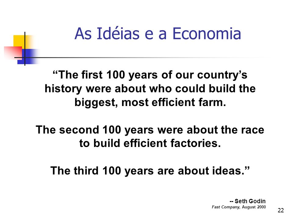 As Idéias e a Economia The first 100 years of our country's history were about who could build the biggest, most efficient farm.
