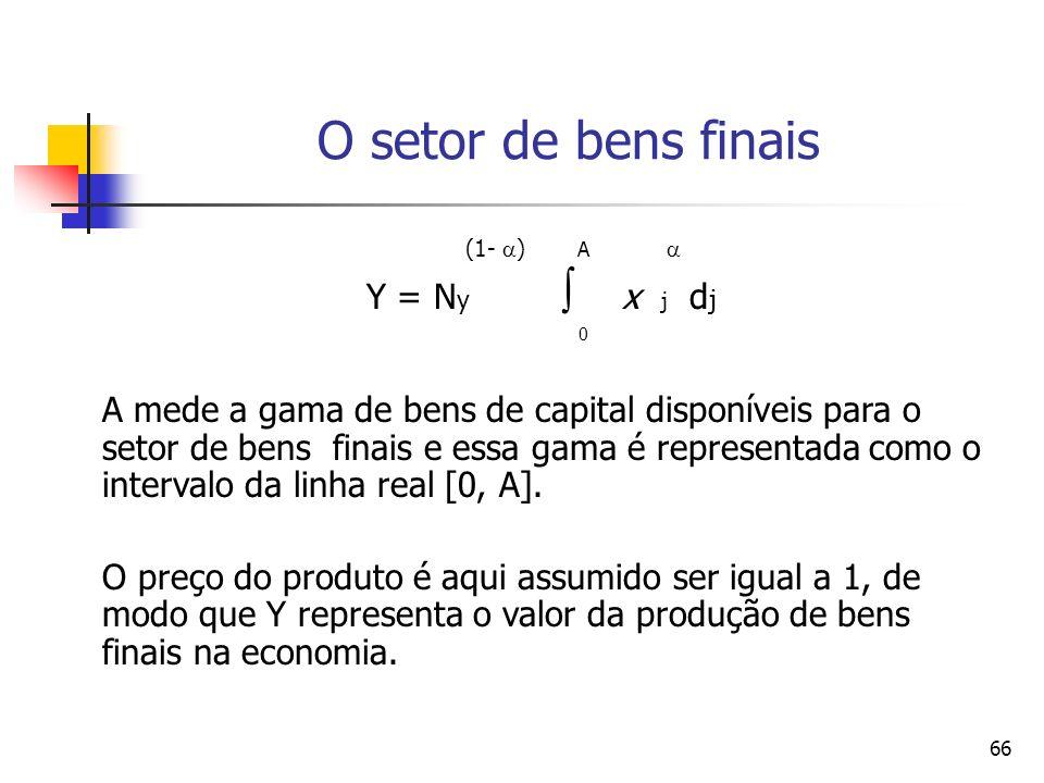 O setor de bens finais (1- ) A  Y = Ny  x j dj