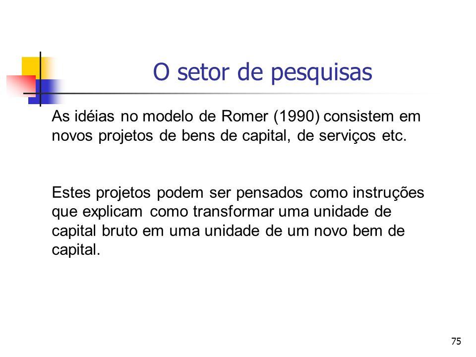 O setor de pesquisas As idéias no modelo de Romer (1990) consistem em novos projetos de bens de capital, de serviços etc.