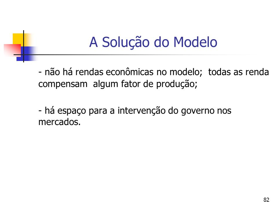 A Solução do Modelo - não há rendas econômicas no modelo; todas as renda compensam algum fator de produção;