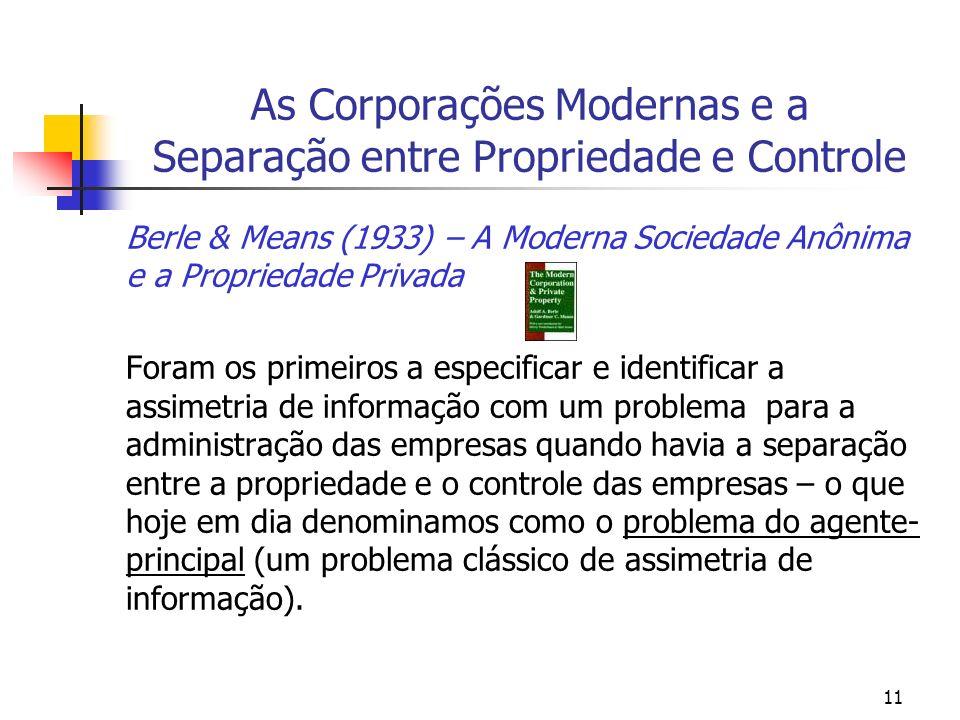 As Corporações Modernas e a Separação entre Propriedade e Controle