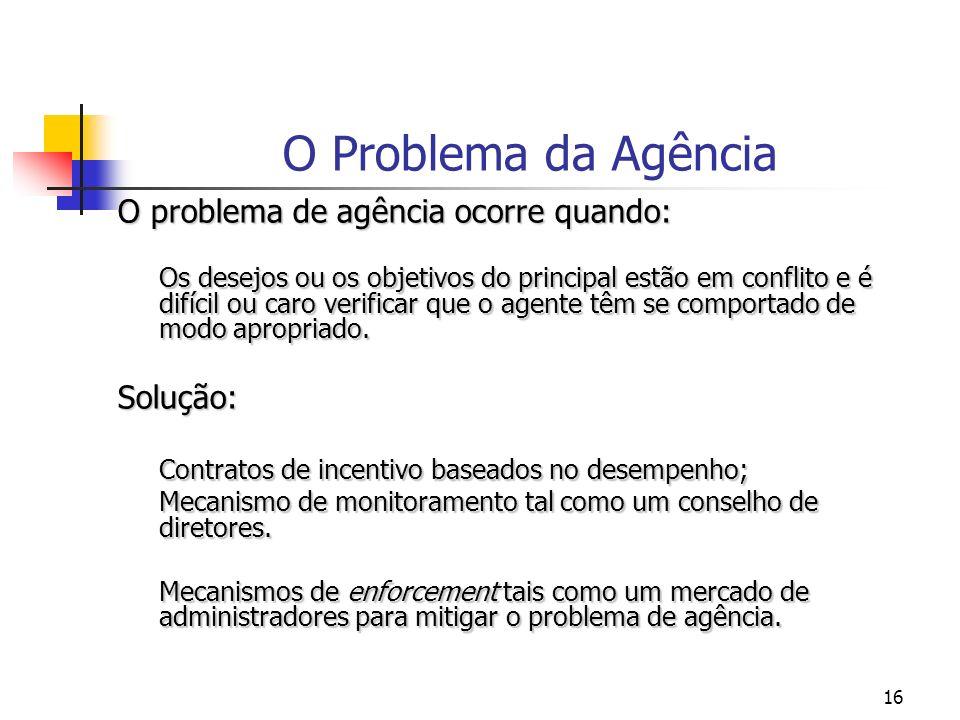 O Problema da Agência O problema de agência ocorre quando: Solução: