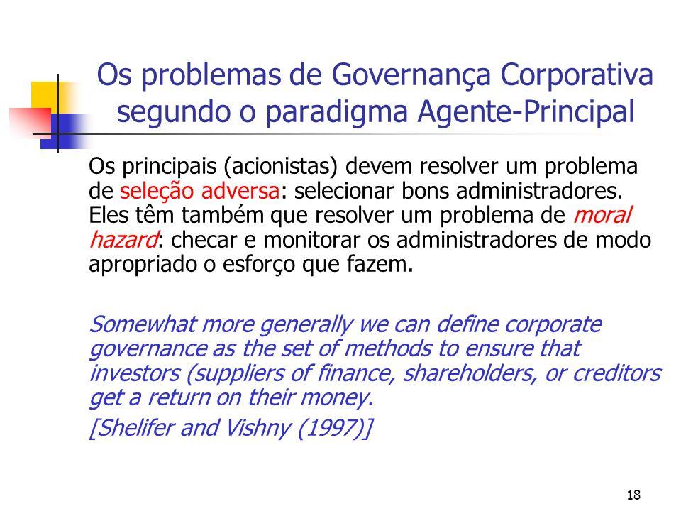 Os problemas de Governança Corporativa segundo o paradigma Agente-Principal