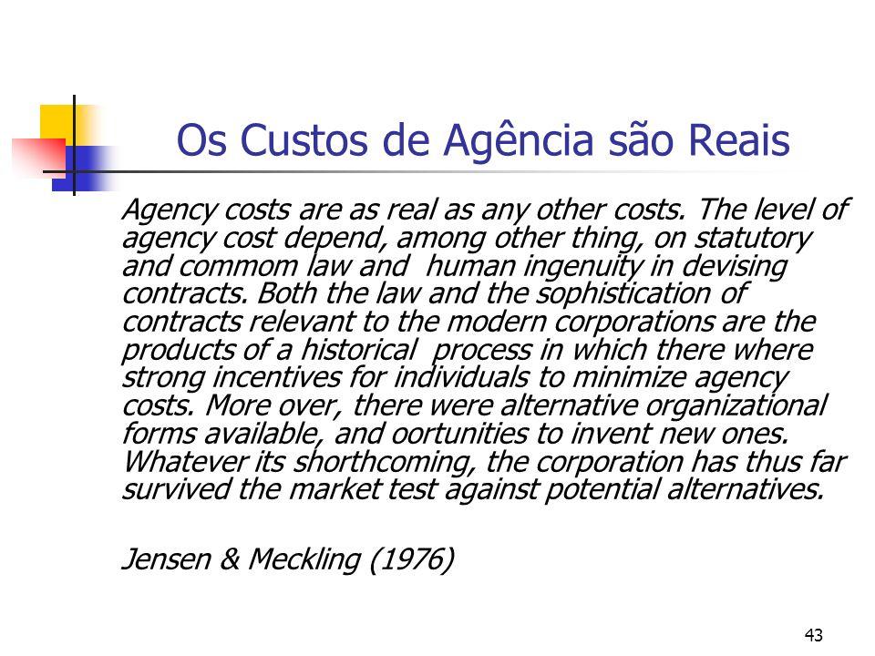 Os Custos de Agência são Reais