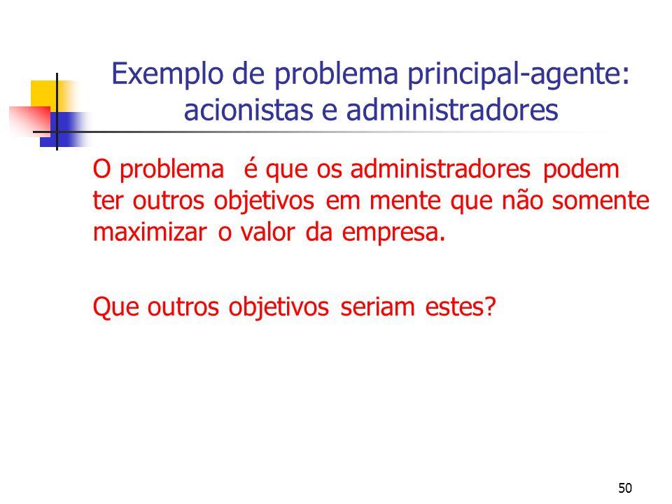 Exemplo de problema principal-agente: acionistas e administradores